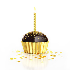 golden birthday chocolate cupcake with candle and confetti