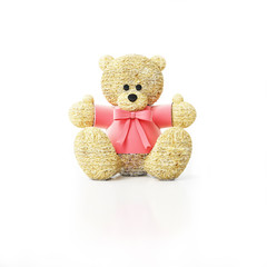 teddy bear in red sweater with bow
