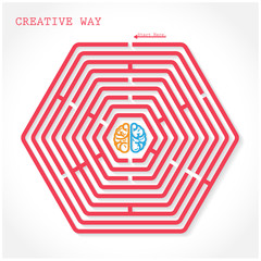 Creative hexagon maze way concept