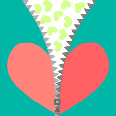 Vector illustration of a red heart with zipper