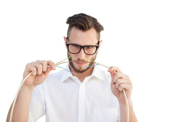 Computer engineer putting wires together