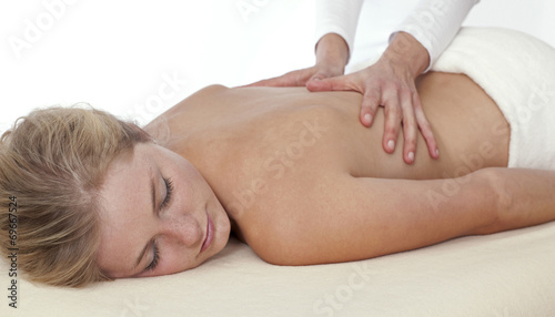 canvas print picture Junge Frau bekommt Physio Behandlung