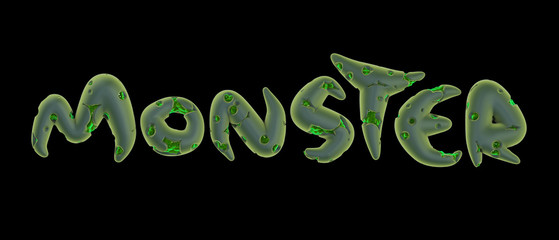 3d green monster word on black