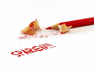 Sparen, roter Stift mit Spänen
