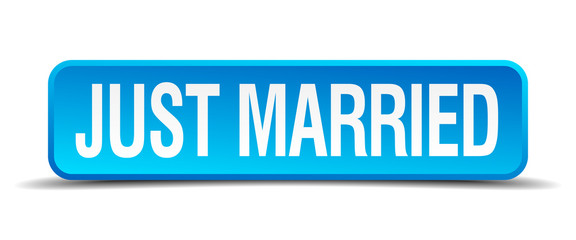 just married blue 3d realistic square isolated button