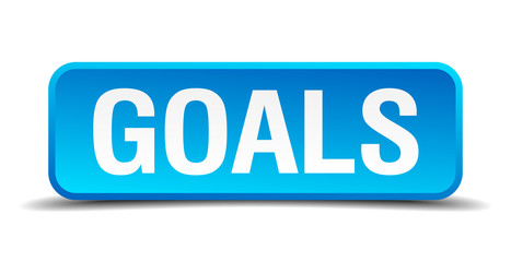 Goals blue 3d realistic square isolated button