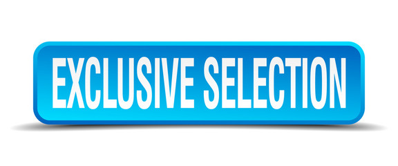 exclusive selection blue 3d realistic square isolated button
