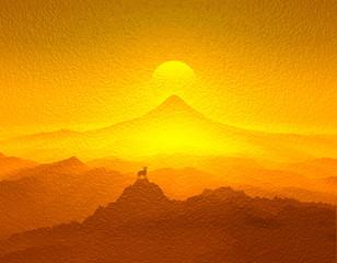 富士山と羊