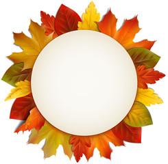 Schild umrandet mit Herbstblätter - Kreis