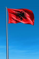 Albania flag waving on the wind
