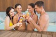 Cheerful people toasting drinks in the swimming pool
