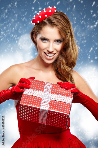 canvas print picture beautiful sexy girl wearing santa claus clothes
