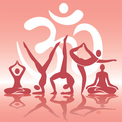 Yoga positions silhouettes on pink background