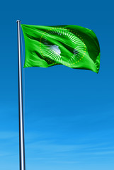 African Union flag waving on the wind