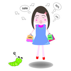 Vector illustration young women happiness in shopping