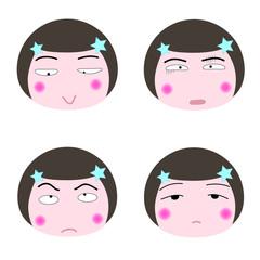 illustration cartoon girl faces icon on white background