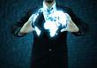 Zdjęcia na płótnie, fototapety, obrazy : businessman  holding a world technology