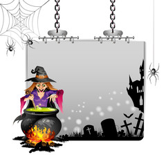 Banner for Halloween with witch preparing a potion