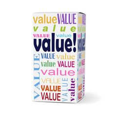 value word on product box