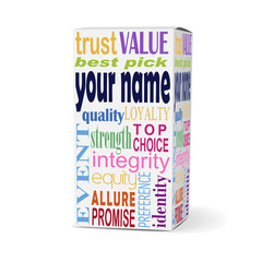 your name words on product box