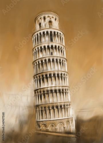 canvas print picture Pisa Schiefe Turm von Pisa Italien Antike