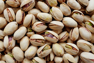 Roasted and salted pistachios in their shells