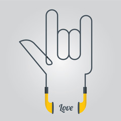 Love Symbol Hand and Music with Earphones in Flat Design, Vector
