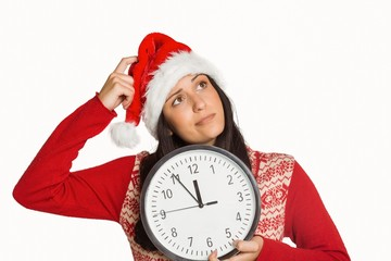 Woman thinking about the time