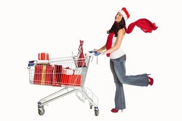 Woman standing with shopping trolley