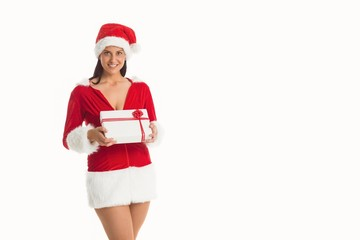 Woman smiling with christmas present
