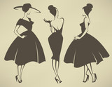 Fototapety new look girls, vector collection of girls in retro style