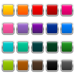 20 glossy metallic buttons in different colors