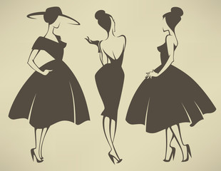 new look girls, vector collection of girls in retro style
