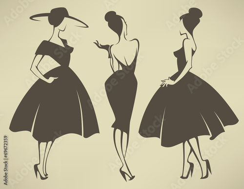 new look girls, vector collection of girls in retro style - 69672359