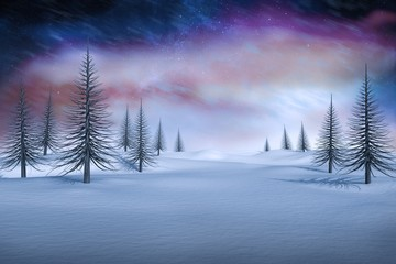 Composite image of white snowy landscape with dead trees