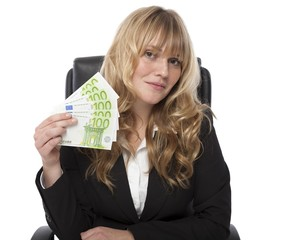 Woman in Business Attire Showing Money