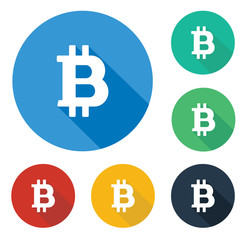Flat bitcoin icon in circle