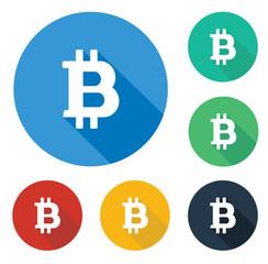 Flat bitcoin icon in circle