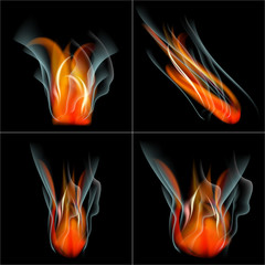 Set Burn flame fire vector abstract background with place for