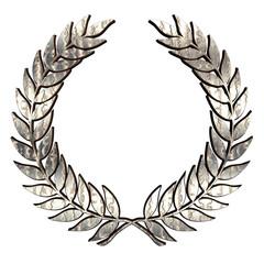 Silver metallic Laurel Wreath on white
