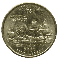 Quarter dollar Virginia Jamestown Wirginia Виргиния