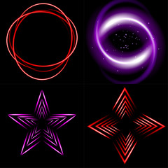 set of multicolored neon background with place for your text.