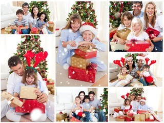 Families celebrating christmas together at home