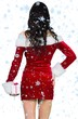 Composite image of sexy girl in santa outfit holding gift