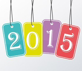 2015 Four colored stickers. Happy new year greeting card.