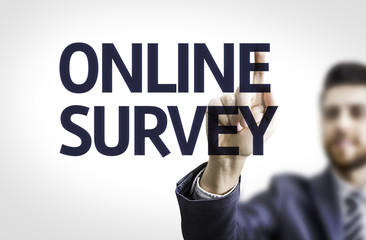 Business man pointing to the text: Online Survey