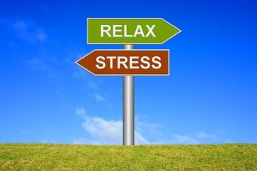 Schild Wegweiser: Stress / Relax