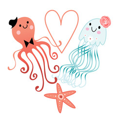 lovers octopus and jellyfish