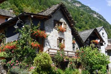 The rural village of Sonogno on Verzasca valley