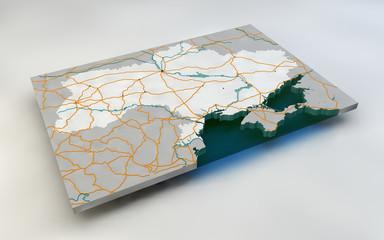 Mappa Ucraina spaccato 3d strade e fiumi